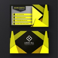 Yellow modern business card  PSD file |  Download