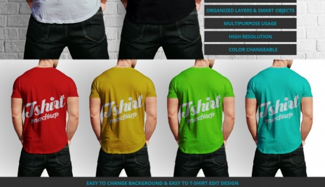 Male t-shirt mock up design  PSD file |  Download