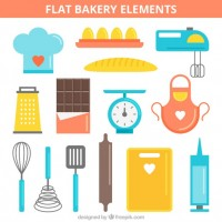 Colourful bakery elements   Vector |  Download