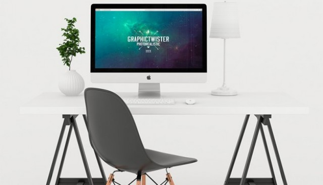 White workspace mock up  PSD file |  Download