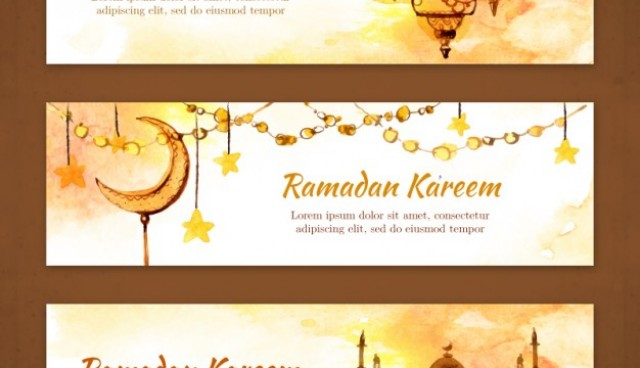 Watercolor ornamental ramandan banners  Vector |  Download