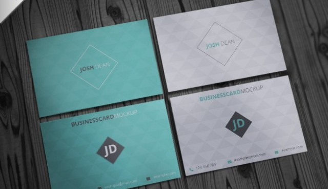 Business card mockup with geometric pattern  PSD file |  Download