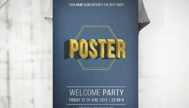 Typographical party poster mockup  PSD file |  Download
