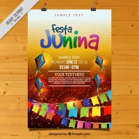 Colorful festa junina celebration poster  Vector |  Download