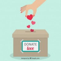 Donation box flat background  Vector |  Download