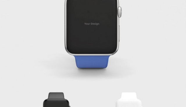 Smartwatch mock up with blue watchstrap  PSD file |  Download
