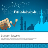 Cool Blue Greeting Card Template for Eid Mubarak  Vector |  Download