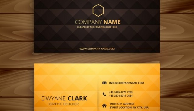 Diamond shapes golden business card  Vector |  Download