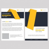Yellow business brochure template with geometric shapes  PSD file |  Download