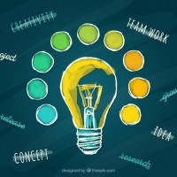 Hand painted light bulb  Vector |  Download