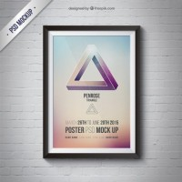 Frame mockup with poster  PSD file |  Download