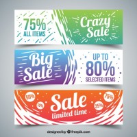 Hand painted colored big sales banners  Vector |  Download