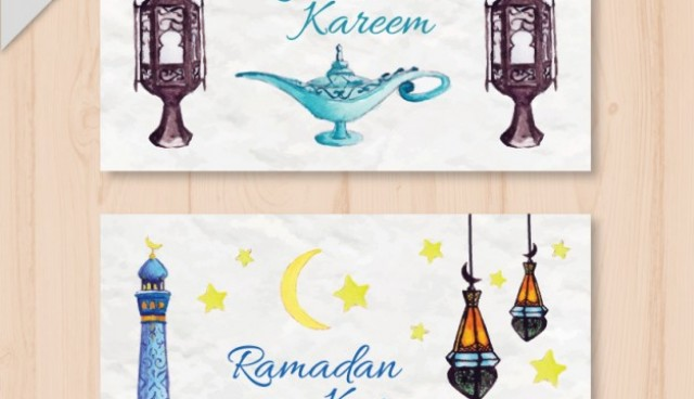 Watercolor arabic onbjects ramadan banners  Vector |  Download