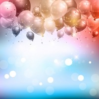 Celebration background of balloons and confetti  Vector |  Download