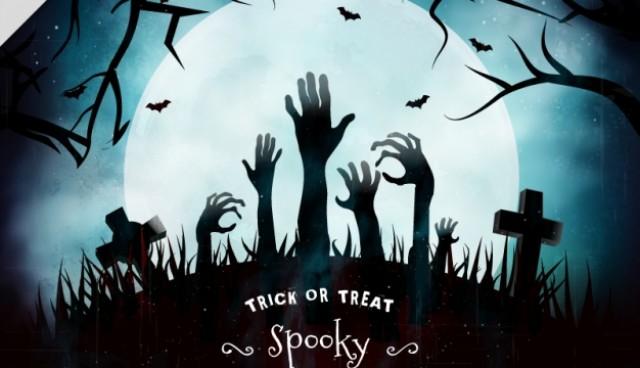 Background of dark graveyard with zombie hands  Vector |  Download