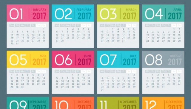 colored 2017 calendar template  Vector |  Download