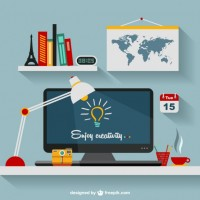 Designer's office flat illustration   Vector |  Download