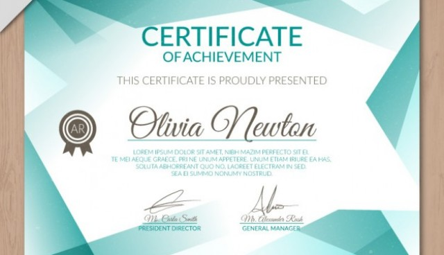 Turquoise certificate  Vector |  Download