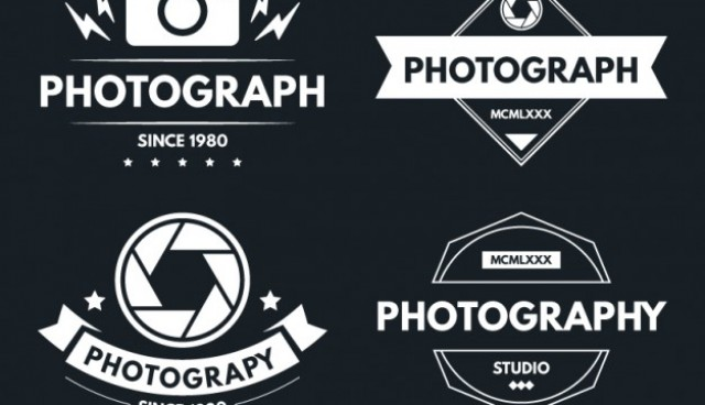 Logotypes of photography in vintage design   Vector |  Download
