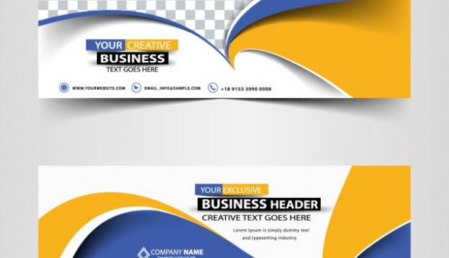 Modern abstract headers with waves   Vector |  Download