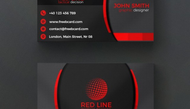 Corporate red and black business card  PSD file |  Download