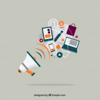 Megaphone and business equipment  Vector |  Download