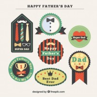 Decorative father's day badges in vintage design  Vector |  Download