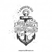 Hand drawn anchor badge  Vector |  Download