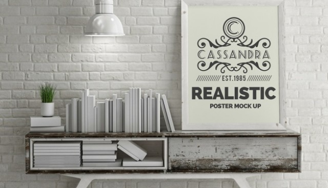 Realistic poster mock up  PSD file |  Download