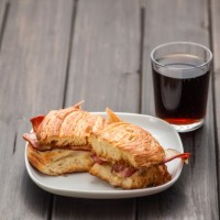 Sandwich with glass of wine  Photo |  Download