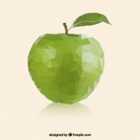 Green apple in polygonal style  Vector |  Download