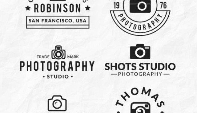 Linear flat cameras logos  Vector |  Download