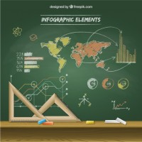 Infographic on blackboard  Vector |   Download