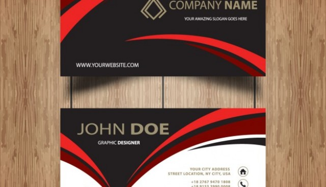 Dark wavy business card   Vector |  Download