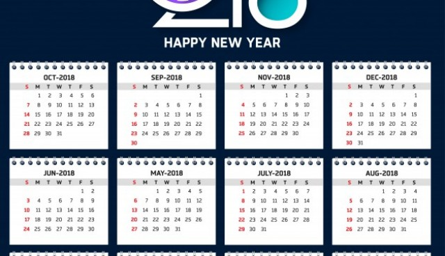 Modern calendar template for 2018  Vector |  Download
