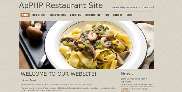 PHP Restaurant Menu and Reservation Site